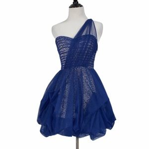 BCBGMaxazria Royal Blue Tulle Lace One Strap Dress